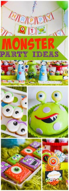 I love the bright colors and fun feel of this monster party! See more party idea. Little Monster Birthday, Monster 1st Birthdays, Monster Birthday Parties, Baby First Birthday, Birthday Fun, First Birthday Parties, Birthday Party Themes, First Birthdays, Birthday Ideas