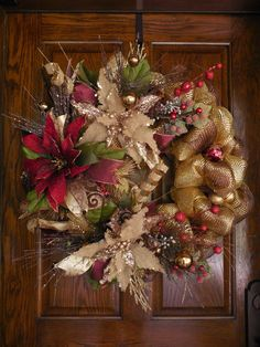 Poinsettia wreath Christmas Mesh wreath Holiday by ChickadeeLore