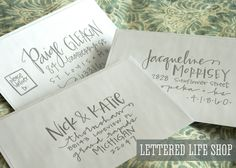 Wedding Calligraphy Envelope Addressing - Silver Modern Calligraphy. $2.00, via Etsy. #ChipotleWeddingSweepstakes