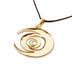 """Tombola Gold - A Powerful Tool for New Beginnings... The Tombola pendant was designed by Javier Hernandez who won David's jewelry design contest for May-June 2007.  Javier descrbied the pendant in the following words: """"Eternal motion of the physical and spiritual realms.  The inverted axis on each circle represents that life's eternal motion is never random.  Nothing happens by accident."""
