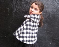 Black White Girls Wool Cape with Peter Pan Collar  by SewnNatural, $75.00
