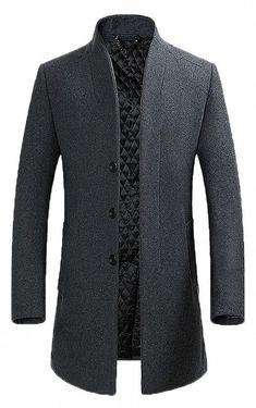 Men's Classical France Style Stand collar Worm Wool Coat