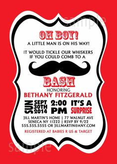 Mustache Boy Baby Shower Invitation / digital by lemontreecards, $16.00 cute---lots of mustache themed stuff right now.