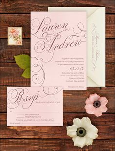 Soft and romantic wedding invitation by Seed To Sprout. #wchappyhour #weddingchicks http://www.weddingchicks.com/2014/07/21/wedding-chicks-happy-hour-30/
