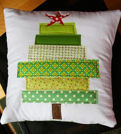 """14"""" x 14"""" pillow that I appliqued and then added batting and quilted."""