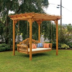 A & L Furniture Cedar Pergola With Optional Curtain