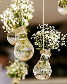 budget rustic wedding decorations flowers gypsophila in vases similar to light b. budget rustic wedding decorations flowers gypsophila in vases similar to light bulbs suspended on a rope colin cowie Perfect Wedding, Dream Wedding, Wedding Day, Trendy Wedding, Wedding Ceremony, Spring Wedding, Wedding Tips, Light Wedding, Elegant Wedding