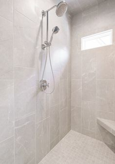 Light greige walk in shower with a window & bench for this master bathroom! – Home Renovation Tile Walk In Shower, Window In Shower, Walk In Shower Designs, Shower Tub, Toilet For Small Bathroom, Master Bathroom Shower, Washroom, Bathroom Ideas, Modern Bathroom