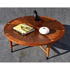 Image of Vintage Lane Mid-Century Modern Round Walnut Coffee Table