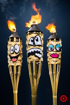 Lighting up your summer nights with TIKI Torches? Why not give them some personality? Start with strips of colored felt. Use scissors to cut out some fun facial expressions. Hot glue them on, light their hair on fire, and you have yourself an enchanted TIKI Torch forest. Tiki Torches, Up Halloween, Crafty Craft, Thoughtful Gifts, Some Fun, Halloween Decorations, Party Time, Diy Crafts, Creative