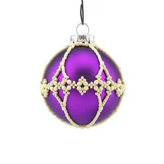 Christmas Ornament beaded bauble purple and creme colours.