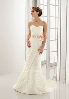 Organza Sheath/column Sweetheart Floor-length With Sash And Tiers Wedding Dress picture 1