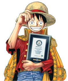 """'One Piece' main character Monkey D. Luffy holds a Guinness World Records certificate. 