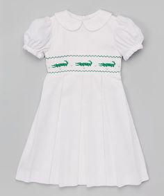 Look at this Emily Lacey Alligator Smocked Puff-Sleeve Dress - Infant, Toddler & Girls on #zulily today!