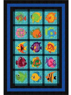 """Cover your next quilt with vibrant fish!   This sea- and fish-inspired quilt pattern is filled with a variety of all things fishy -- tropical fish, that is! Hang it on your wall or use it as a twin-size quilt for a child's bedroom. Quilt includes full instructions on piecing and appliqueing all the fish to complete the full picture. Finished quilt size is 62"""" x 90""""."""