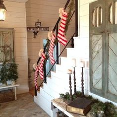 Home decorator extraordinaire @Joanne Gaines adds some Christmas color to her farmhouse with our Down the Chimney Stockings. || Anthro blog instagram