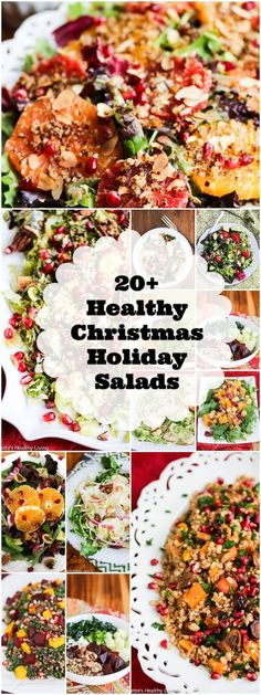 Healthy Christmas Holiday Salad Recipes - lighten up your Christmas holiday menu with one or more of these festive healthy salad recipes ~ http://jeanetteshealthyliving.com