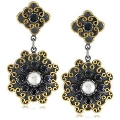 "Stella Flame 24K ""Floral"" Pearl and Sapphire Earrings: Jewelry: Amazon.com"