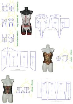 Sewing patterns for corsages, bustiers and waspies in many variations and according to . Corset Sewing Pattern, Pattern Drafting, Sewing Patterns, Bra Pattern, Costume Patterns, Doll Clothes Patterns, Sewing Clothes, Lingerie Patterns, Sewing Lingerie