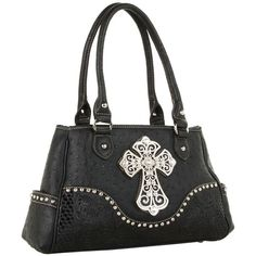 M&F Western Ostrich Cross Satchel (Black) Satchel Handbags ($59) ❤ liked on Polyvore featuring bags, handbags, western purses, strap purse, satchel handbags, satchel shoulder bag and studded satchel handbag