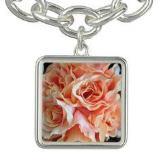 Coral Rose Charm Bracelet