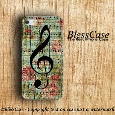 MUSIC IPHONE CASE Vintage Flower Floral on woodden by BlessCase