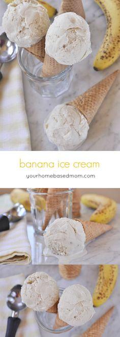 Banana Ice Cream - No Bake Treats - Helados Homemade Banana Ice Cream, Banana Nice Cream, Yummy Ice Cream, Ice Cream Maker, Gelato Ice Cream, Diy Ice Cream, Cream Cream, Ice Cream Desserts, Frozen Desserts
