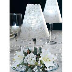 12 Centerpieces incl: Floral Swirl Print Wine Glass Shades, Silk Flowers, White Battery LED Tea Lights WEDDING TABLE DECORATION Magic Lantern http://www.amazon.com/dp/B00JXVLXGM/ref=cm_sw_r_pi_dp_gDaVub0ZF2AKX