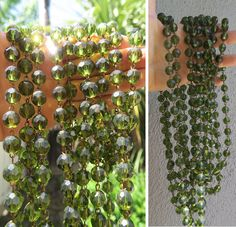 1 foot glass bead strand prism faceted Peridot Green chain part brass lamp