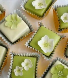 Olive and white petit fours