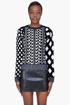 Kenzo Navy Patterned Velvet Sweater for women | SSENSE