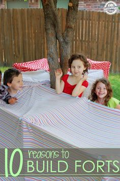 10 reasons why kids should build forts! There are so many things that fort building can help kids do and learn that go beyond the fun! Craft Activities For Kids, Summer Activities, Projects For Kids, Preschool Activities, Preschool Classroom, Family Activities, Outdoor Classroom, Boredom Busters, Business For Kids
