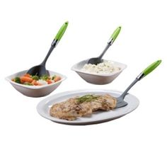 Pre-portioned serving pieces for precise serving sizes.  Serving Set Contains: 1 slotted spoon for vegetables, 1 solid spoon for starches such as potatoes or rice and 1 spatula for protein