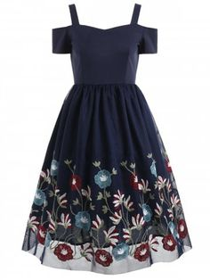 Sweetheart Neck Floral Embroidery A Line Dress - Navy Blue