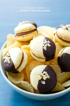 Chocolate Covered Potato Chip Macarons. #macarons #desserts
