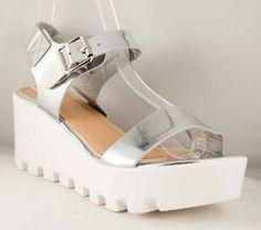 Poze Sandale cu talpa ortopdica Silver 7 cm Platform, Heels, Silver, Fashion, Sandals, Heel, Moda, Fashion Styles, High Heel
