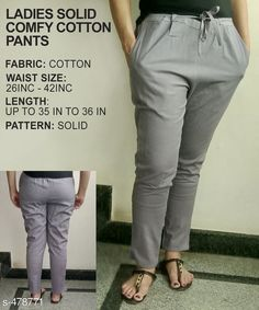 Trousers & Pants Gorgeous Cotton Pant Fabric: Cotton Waist Size: 26 in 28 in 30 in 32 in 34 in 36 in 38 in 40 in 42 in Length: Up to 35 in to 36 in Type: Stitched Description: It Has 1 Piece of Pant Pattern: Solid Country of Origin: India Sizes Available: 26, 28, 30, 32, 34, 36, 38, 40, 42, 44, 46   Catalog Rating: ★3.8 (318)  Catalog Name: Ladies Solid Comfy Cotton Pants CatalogID_52472 C79-SC1034 Code: 763-478771-9921