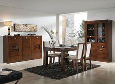 muebles para saln comedor realizados en madera de nogal macizo y compuesto por vitrina