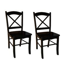 @Overstock - Country Cottage Black Dining Chairs (Set of 2) - You can invite friends over for dinner when you boost your seating options with this classic dining chair set. Made of durable rubber wood, these chairs feature a traditional cross-back design that works well with traditional and country-style decor.    http://www.overstock.com/Home-Garden/Country-Cottage-Black-Dining-Chairs-Set-of-2/6986413/product.html?CID=214117  $109.99
