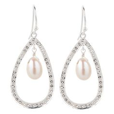 925 Sterling silver teardrop hoop earrings with white topaz and freshwater pearls