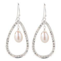 925 Sterling silver teardrop hoop earrings with white topaz and freshwater pearls