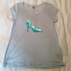 [Lauren Conrad] Cinderella Slipper Tee So cute! Light blue shirt with real/blue sequin high heel. Sleeves and bottom are edged with tulle. This would be perfect for a mom accompanying her Cinderella princess on Halloween! Brand new, with tags. Perfect condition. Size small, but could fit up to medium due to loose fit. 100% rayon. Lauren Conrad Tops