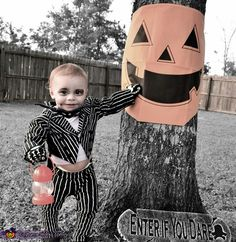 Pictures and homemade costume I did of our son, Spencer, as Jack Skellington from The Nightmare Before Christmas - 2013 Halloween Costume Contest via @costumeworks -Brandi VanOrmer