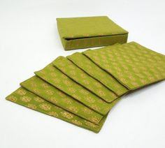 Fancy cloth coasters in a box Gold leaves on moss green linen by indiecreativ, $32.00