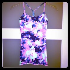 Lululemon Power Y Tank Like new! Worn once - washed cool gentle cycle & hung dry. LOVE this print but have decided this isn't the right size for me  built in bra and will send with insert able foam inserts. trades lululemon athletica Tops Tank Tops
