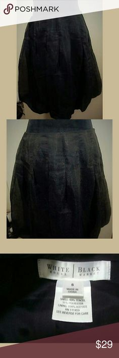 "White House Black Market Skirt Bubble Hem Black White House Black Market Skirt, Bubble Hem, Black Metallic, Lined, side zip with hook and loop. Lightweight. Women's Size 6. Dry clean only  Waist - 31"" Length - 21.5""  Smoke and pet free home  (A1) White House Black Market Skirts"