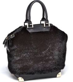 1c0b5a4ed4e4 Look what I found on Black Faux Mink Fur Bowler Tote by Donna Salyers   Fabulous-Furs