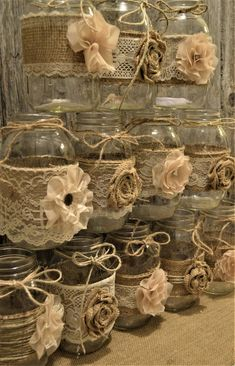 Ideas Rustic Bridal Shower Ideas Decorations Burlap Anniversary PartiesYou can find Burlap crafts and more on our Ideas . Burlap Wedding Decorations, Wedding Centerpieces Mason Jars, Bridal Shower Decorations, Flower Centerpieces, Burlap Flowers, Diy Flowers, Shade Flowers, Flowers Wine, Wine Bottle Crafts