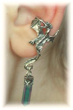 Dragon Ear Cuff with Crystal Sterling Silver by ChapmanJewelry  This one looks really Cool. I love how it has a dangly.