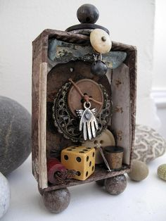 ⌼ Artistic Assemblages ⌼  Mixed Media & Collage Art - i like this piece because is is made out of different old bits and bobs